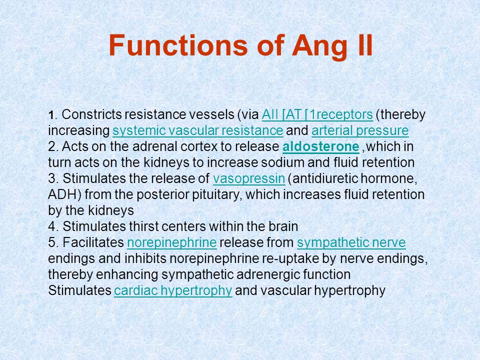 Functions of Ang II 1. Constricts resistance vessels (via AII [AT1] receptors) thereby increasing systemic vascular resistance and arterial pressure.